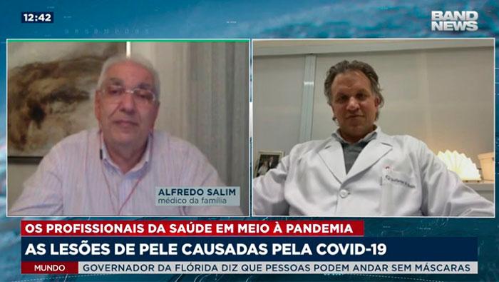 A imagem está dividida em duas telas, na esquerda, mostra o Dr. Salim, e na direita, o Guilherme de Almeida.