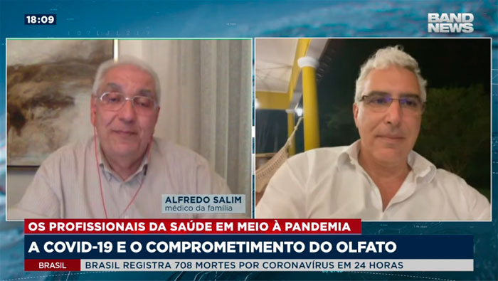 A imagem está dividida em duas telas. Do lado esquerdo, está o Dr. Salim, e do lado direito, o A imagem mostra o Dr. Salim e o Dr. Rubens de Brito.