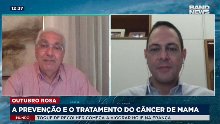 A imagem está dividida em duas telas, a tela da esquerda mostra o Dr. Salim, e a tela da direita mostra o Dr. José Luiz Bevilacqua.