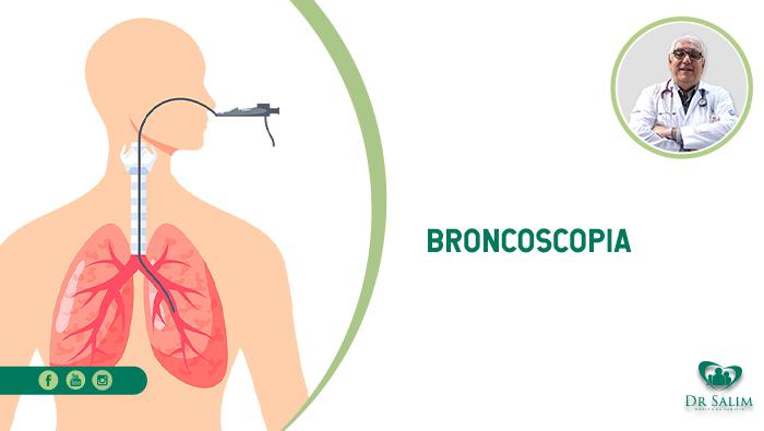 A imagem mostra uma ilustração do corpo humano com a traqueia e o pulmão em evidência, com o aparelho endoscópico que é injetado pelo nariz e percorre um fio até o pulmão.
