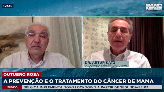 A imagem está dividida em duas partes. No canto esquerdo, mostra o Dr. Salim, no direito, o Dr. Arthur Katz.