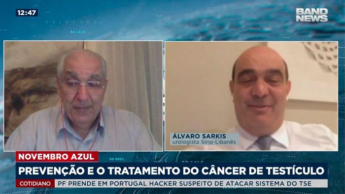 A imagem mostra uma tela dividida em duas partes. Na esquerda, há o Dr. Salim, e na direita, o Álvaro Sarkis.