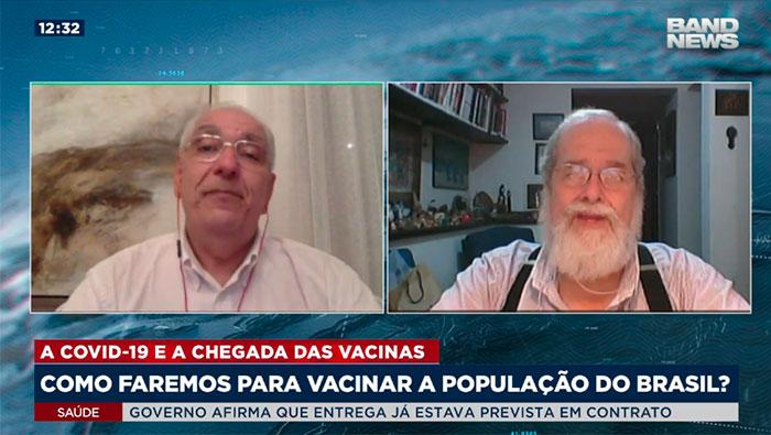 A imagem mostra uma tela dividida em duas partes, na esquerda há o Dr. Salim e na direita o Dr. Gonzalo Vecina.