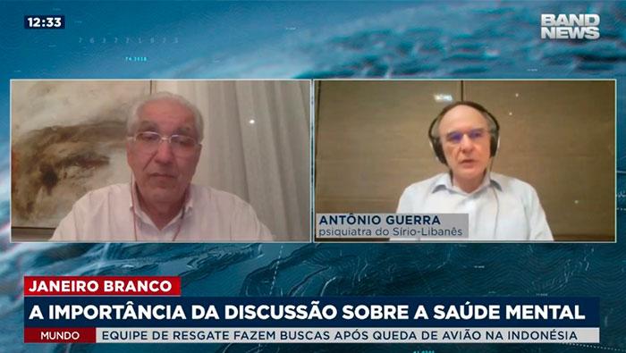 A imagem está com a tela divida em duas partes. Do lado esquerdo está o Dr. Salim e o do lado direito está o Dr. Antônio Guerra.