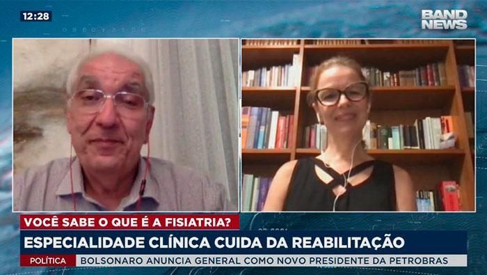 A imagem mostra uma tela divida em duas partes. Do lado esquerdo está o Dr Salim e do lado direito a Christina Brito.