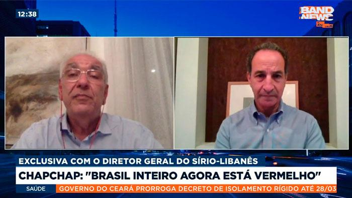 A imagem mostra uma tela dividida em duas partes. Do lado esquerdo, está o Dr. Salim, e do lado direito, o Dr. Paulo Chapchap.