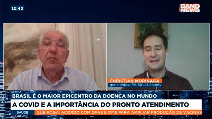 A imagem mostra uma tela dividida ao meio. Do lado direito está o Dr. Christian Valle e do lado esquerdo o Dr. Salim.