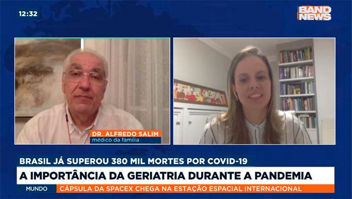 A imagem mostra uma tela dividida ao medo, do lado esquerdo está o Dr. Salim e do lado direito a Dra. Kelem de Negreiros Cabral.