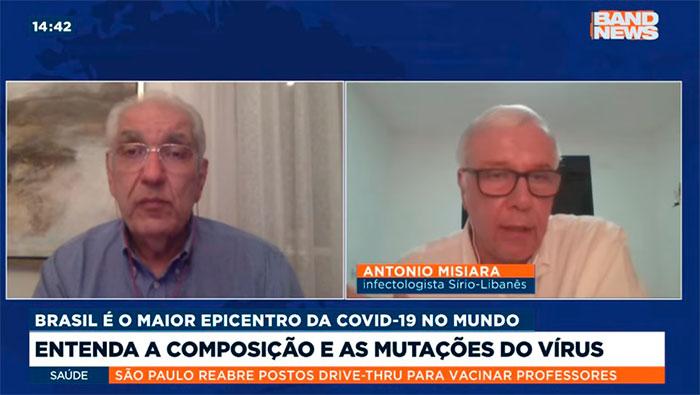 A imagem mostra uma tela dividida ao meio. Do lado esquerdo está o Dr. Salim, e do lado direito o Dr. Antônio Misiara.
