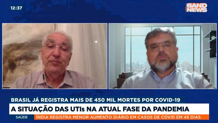 A imagem mostra uma tela dividida em duas partes. Do lado esquerdo está o Dr. Salim e do lado direito o Laerte Pastore.