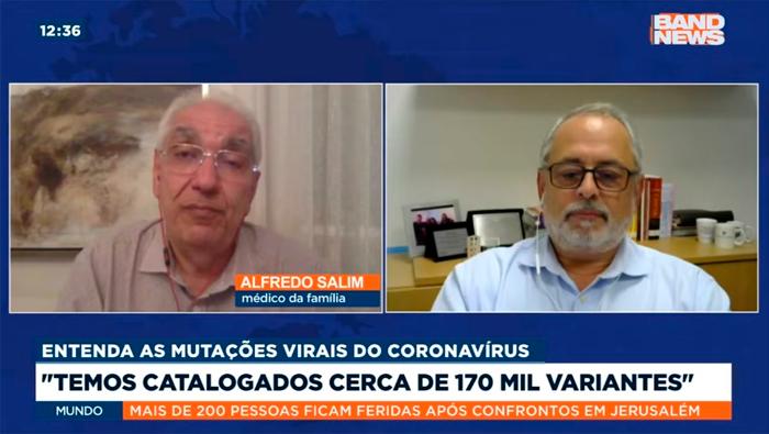 A imagem mostra uma tela dividida em duas partes. Do lado esquerdo está o Dr, Salim e do lado direito o Dr.Luiz Fernando Reis.