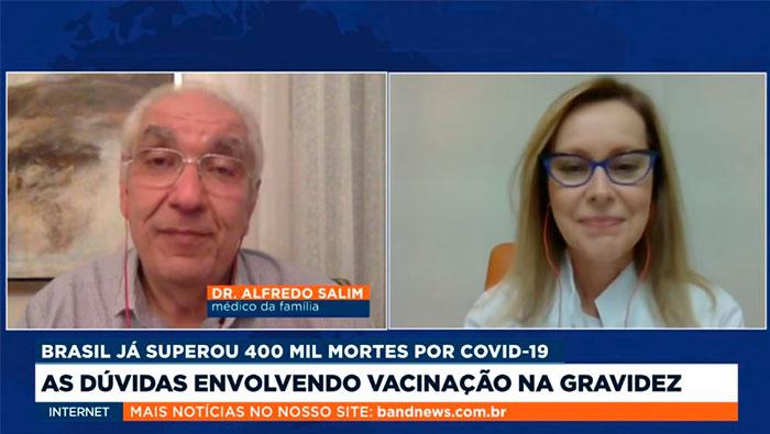 A imagem mostra uma tela dividida ao meio, do lado esquerdo está o Dr. Salim e do lado direito a Dra. Leila Corrêa.